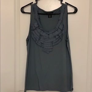 Teal ruffled tank